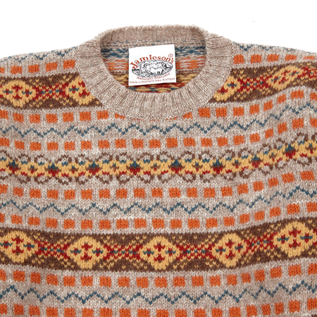 Jamieson's Crew-neck Fair Isle Jumper in Orange