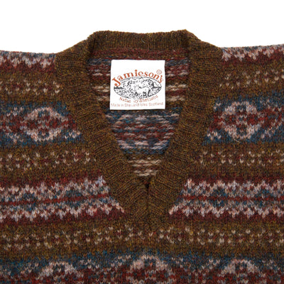 Jamieson's V-neck Fair Isle Bracken Slipover