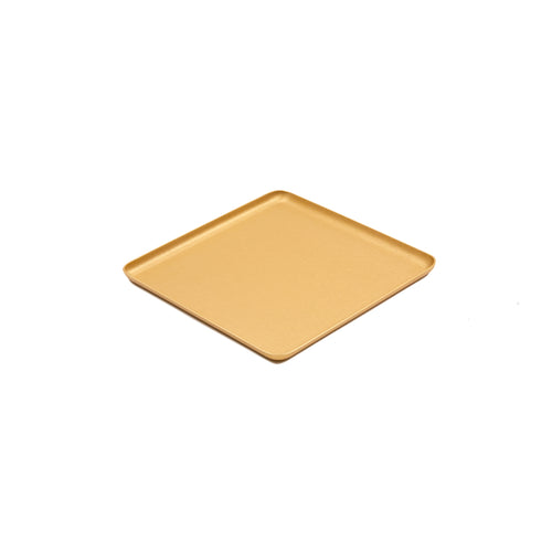 Kaymet Square Pressed Aluminium Tray in Gold