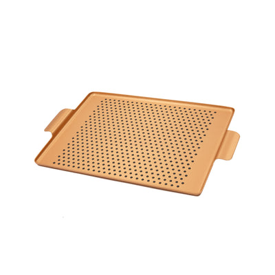 Kaymet Rectangular Pressed Rubber Grip Aluminium Tray in Blush Gold