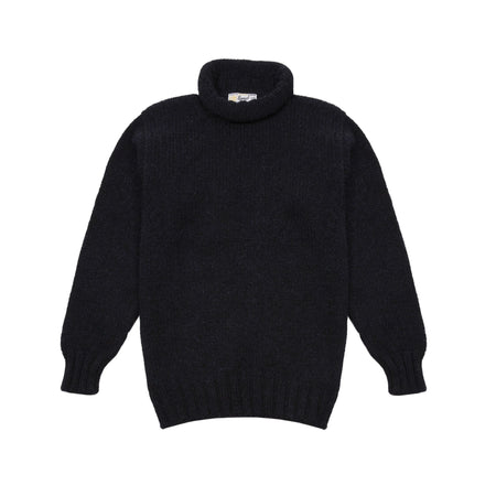 Laurence J Smith Wool Lupetto Neck Jumper in Blue