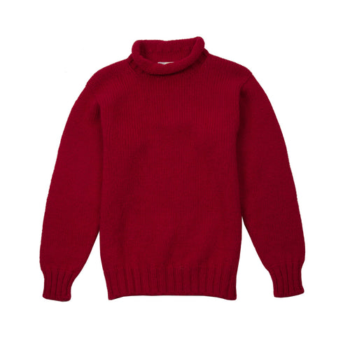 Laurence J Smith Wool Lupetto Neck Jumper in Red
