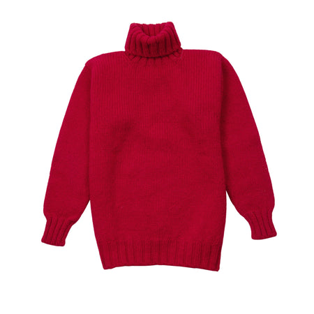 Laurence J Smith Wool Polo Neck Jumper in Red