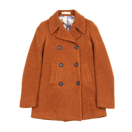 Massimo Alba Women's Wool Peacoat in Pumpkin Herringbone
