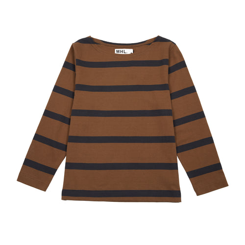 MHL L/S MATELOT WIDE STRIPE DRY JERSEY - GINGER / CHARCOAL