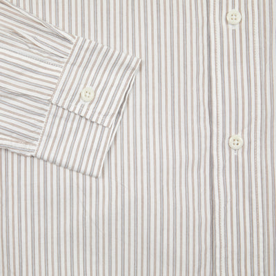 MHL WOMEN'S BASIC SHIRT TRAM STRIPE COTTON - ECRU / BROWN