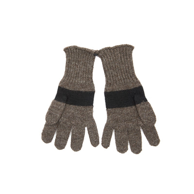Margaret Howell MHL Women's Colour Block British Wool Gloves in Brown/Black