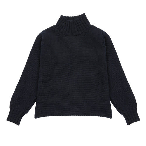 Margaret Howell MHL Women's Wide Neck British Wool Sweater in Ink