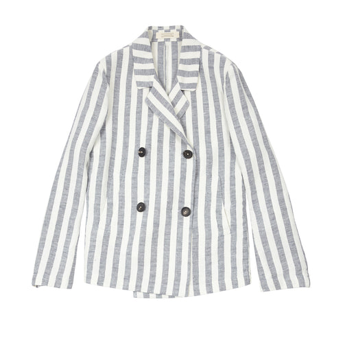 Massimo Alba Women's Linen Peacoat in Stripe