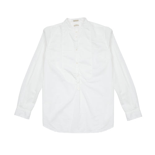 Massimo Alba Women's Violet Collarless Cotton Shirt in White