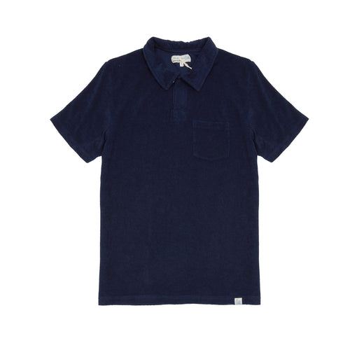 Merz b Schwanen FTPLP01 Good Basics French Terry Polo Shirt in Navy
