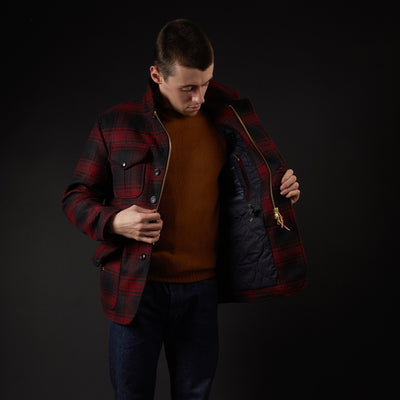 Manifattura Ceccarelli Wool Alligator Jacket in Red/Black
