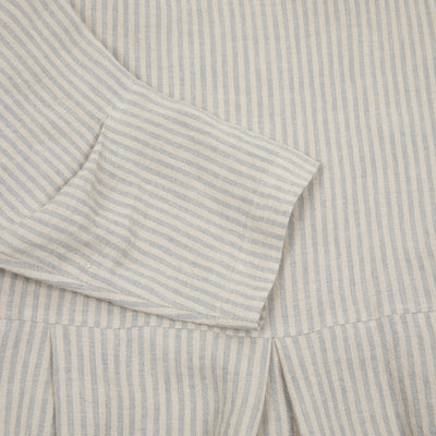 Muku Linen Pleated Dress in Beige Stripe