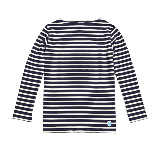 Orcival Unisex Long Sleeve Marinière T-shirt in Marine and Ecru