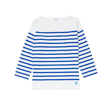 Orcival Unisex Breton T-shirt in White and Bleu