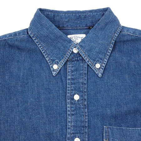 Orslow Washed Denim Shirt in Blue