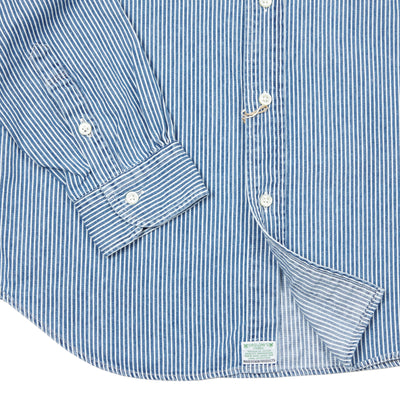 Orslow Denim Stripe Shirt in Blue
