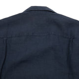 Portuguese Flannel Linen Camp Collar Shirt in Navy