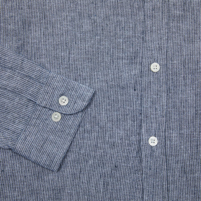 Portuguese Flannel Linen Collarless Shirt in Latitude