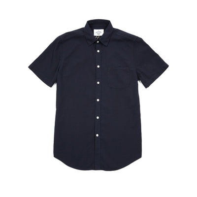 Portuguese Flannel Atlantico Seersucker Short Sleeve Shirt in Navy
