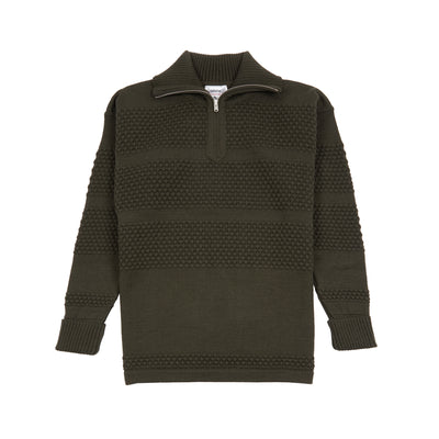 Zip neck sweater with textured knit panel detail. 100% virgin wool.