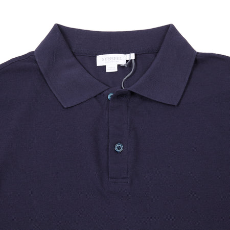 Sunspel Cotton Piqué Polo Shirt in Navy