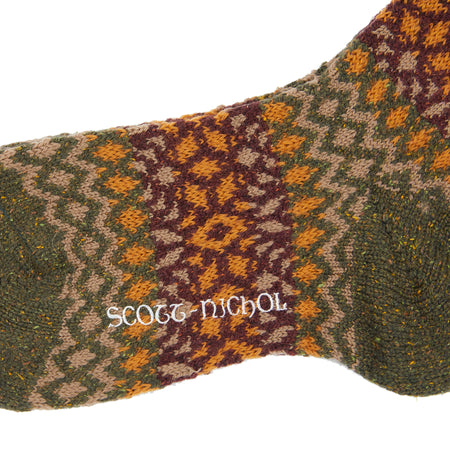 Scott Nichol Fellcroft Wool Sock // Khaki Fair Isle