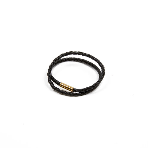 Skultuna Leather Bracelet Black/Gold