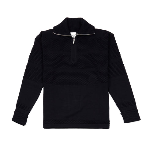 SNS Herning Fisherman Half Zip Jumper in Navy