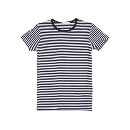 Sunspel Crew-Neck T-Shirt in Navy/White Stripe