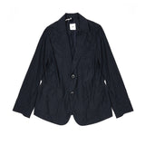 TS(S) Women's Cotton Silk 2 Button 3 Pocket Piping Jacket in Navy