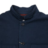 Vetra 1K55/35 Nehru Collar Cotton Jacket in Navy