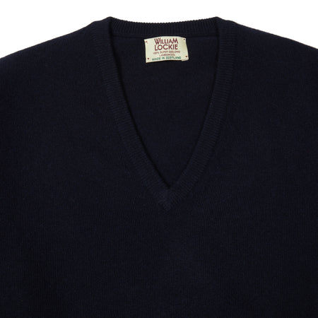 William Lockie Gordon V-neck Jumper in Navy