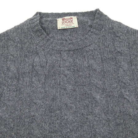 William Lockie Gullan Geelong Cable Jumper in Derby Grey