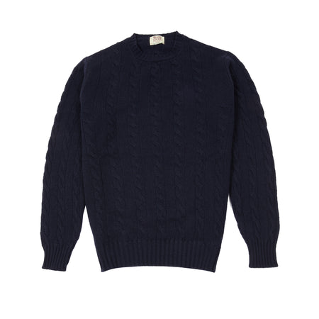 William Lockie Gullan Geelong Cable Jumper in Dark Navy