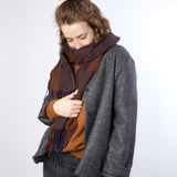 Begg & Co Iggy Vale Lambswool/Cashmere Scarf in Navy/Chocolate