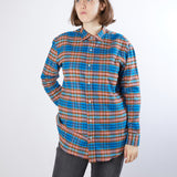 Salvatore Piccolo Women's Brushed Cotton Shirt in Multi-Colour Plaid