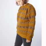 Jamieson's Crew-Neck Fair Isle Jumper in Old Gold
