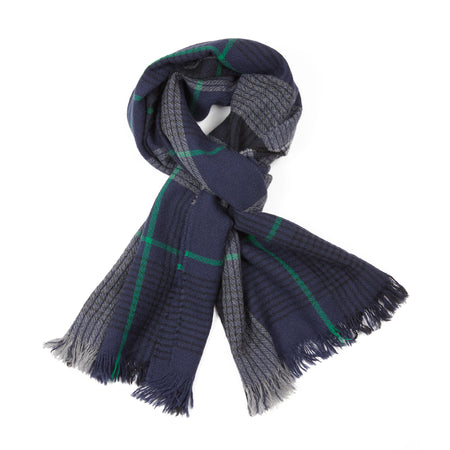 Begg & Co Kishorn Washed Scarf in Shadow Check Blue