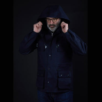 Mackintosh Anstruther Bonded Cotton Field Jacket in Navy