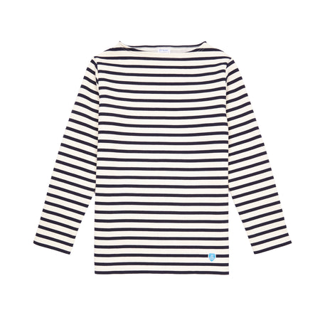 Orcival Unisex Long Sleeve Marinière T-shirt in Ecru and Marine