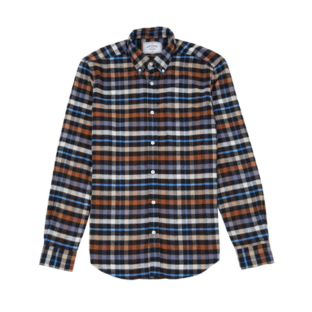 Portuguese Flannel Mob Check Shirt in Black/Ecru