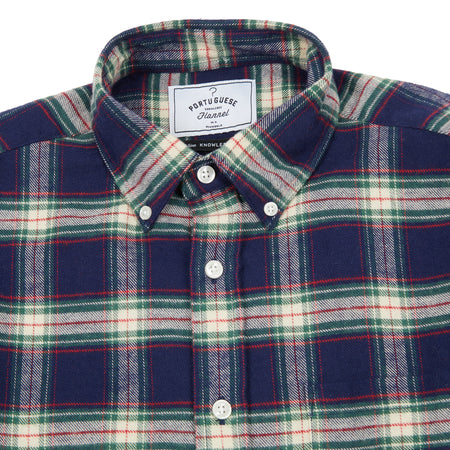 Portuguese Flannel Blue Square Check Shirt