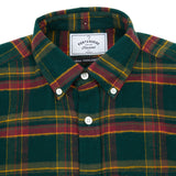 Portuguese Flannel Billard Check Shirt in Green/Grape
