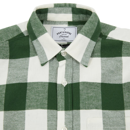 Portuguese Flannel Bufalo Shirt in Green/White