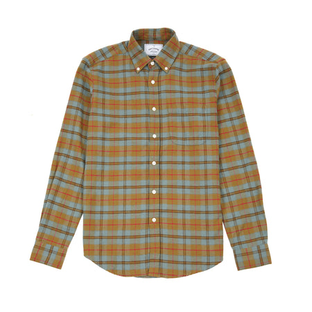 Portuguese Flannel Cabeco Shirt in Khaki/Teal