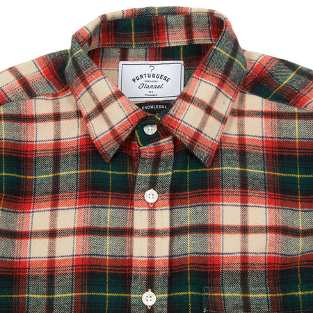 Portuguese Flannel Rustic Shirt in Ecru/Red/Green