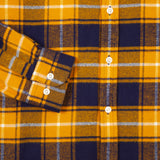 Portuguese Flannel Park Shirt in Mustard/Navy