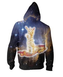 Bacon Cat Zip-Up Hoodie