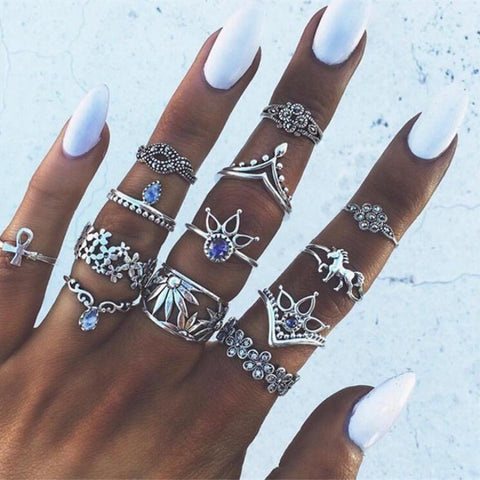 Awesome Boho Geometric Flower Horse  13pc/set Vintage Knuckle Rings